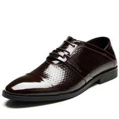 22a318fc3 Men Derby Sensuel Formal Patent Leather Brown Solid Color Office Career  Party Evening Dress Wedding Shoes