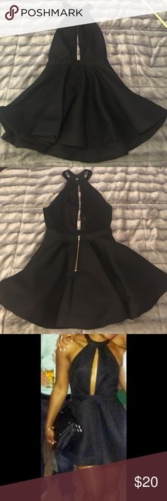 Head turning LBD This dress fits great! It's a timeless style however my time with it is up after recent weight gain. LoL It's only been worn twice.  Dress has gold zipper on back and zips up to lower back (100% Polyester) 36•5 Dresses