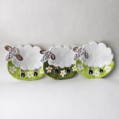 Cute White Lamb Soap Dish, Funny Sheep ceramic spoon rest, Ceramic Jewelry Holder,Hand Built saucer, children spoon rest, Kids Soap Dish by NatVasCeramics