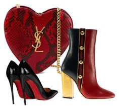 """""""red/black/gold"""" by gulokmini ❤ liked on Polyvore featuring Yves Saint Laurent, Christian Louboutin and Gucci"""