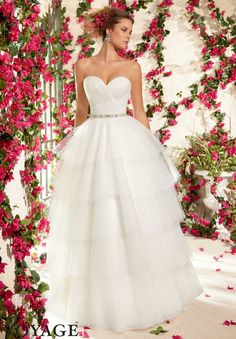 6796 Wedding Gowns / Dresses Tulle Ball Gown- Removable Beaded Satin Belt #11077 (included, but also sold separately as style #11077)
