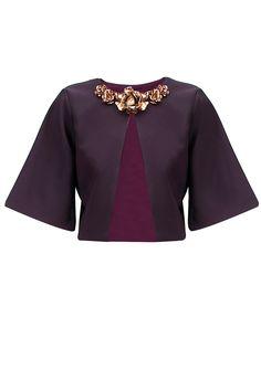 Purple metal flowers embellished bolero jacket by Nikhil Thampi. Shop now at www.perniaspopups... #fashion #designer #shopping #perniaspopupshop #happyshopping