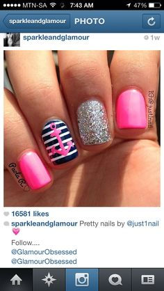 Pink twist to nautical nails