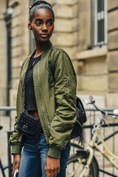 July 3, 2016 Tags Black, Paris, Green, Studded, Jeans, Crop Tops, Women, Model Off Duty, Models, Bomber Jackets, Jackets, Bags, Backpacks, Olive, Hair, 1 Person, Braids, Eyes, FW16 Women's Couture
