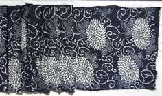 Antique Indigo. Hand Loomed Japanese Katazome Cotton. Aizome. Floral Stencil Design (Ref: 517)