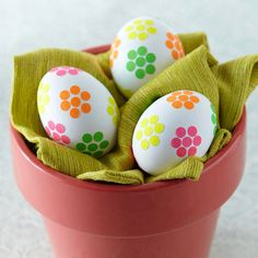 Flower Sticker Easter Eggs -- these are done with dot stickers. So easy!