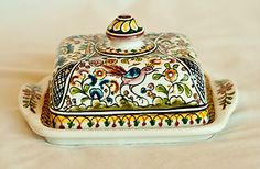 Hand-painted butter dish from Coimbra, Portugal. Get yours today to have your own piece of traditional Portuguese hand-painted pottery!