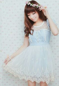 Japanese Fashion Pastel Blue Dress  Love this! Not overly lacy but the perfect amount to make it seem kiddish/doll like