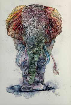 Elephant- original watercolour painting by KAB 10 x 15 inch