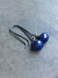 Genuine Sapphire Drop Earrings . Sterling by SassenachStudio