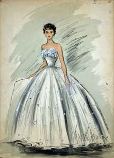 I have always loved this dress.and just about every design Edith Head ever created. copy of Edith Head sketch for Elizabeth Taylor in George Steven's A Place in the Sun. Costume Hollywood, Fashion History, Fashion Art, Paper Fashion, Trendy Fashion, Latest Fashion, Fashion Trends, Mode Vintage Illustration, Dress Illustration
