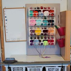 Variera plastic bag dispensers are just as adept at dispensing yarn. | 33 Clever And Unexpected Uses For Ikea Products