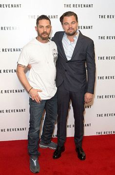 Tom Hardy and Leonardo DiCaprio attend a photo call at the Empire Cinema, Leicester Square, London, ahead of the BAFTA screening of The Revenant in London, UK, on Sunday December 6, 2015.