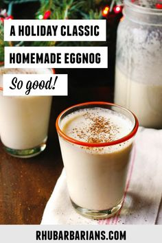 A holiday classic: homemade eggnog! The best homemade eggnog recipe! Learn how to make eggnog at home. Keep it simple or spike it with bourbon for a wonderfully classic Christmas cocktail. // Rhubarbarians // Best Eggnog Recipe, Homemade Eggnog, Drinks Alcohol Recipes, Cocktail Recipes, Vegetarian Christmas Recipes, Vegetarian Recipes, Cooking Recipes, How To Make Eggnog