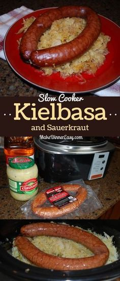 This recipe for Slow Cooker Kielbasa and Sauerkraut may be one of the easiest recipes you will ever make. And if you think your kids would never eat sauerkraut you might be surprised after serving this dish! - May 19 2019 at Crockpot Saurkraut Recipes, Kielbasa And Sauerkraut Crockpot, Slow Cooker Kielbasa, Sauerkraut Recipes, Sausage Recipes, Crockpot Meals, Crockpot Recipes For Kids, Crockpot Dishes, Pork Recipes
