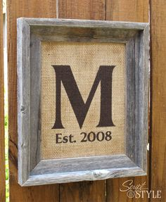 Personalized Monogram Family Name Sign on Burlap with Barn Wood Frame, 11x14. $49.99, via Etsy.