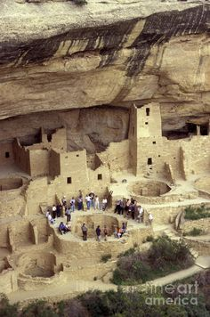 ✮ Tourists and guide standing around a kiva at Cliff Palace ruins, Mesa Verde National Park, Colorado