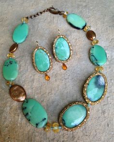 chrysoprase earrings and necklace.