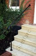 Bespoke wrought iron style handrail with post- balustrade - Sheffield Architectural Metalworkers Exterior Handrail, Wrought Iron Handrail, Iron Handrails, Metal Working, Interior And Exterior, Custom Design, Stairs, Patio, Architecture