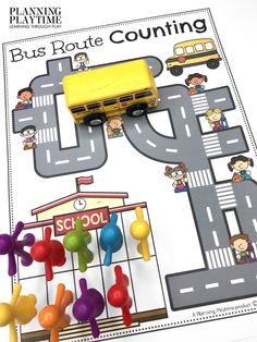 Follow the Bus Route and Count the Number of children. - Back to School Preschool Worksheets Preschool Binder, Preschool Age, Preschool Worksheets, Preschool Activities, Back To School Worksheets, Back To School Activities, Hands On Activities, Recess Games, Learning Through Play
