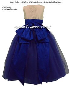Bisque , royal purple, and Sapphire Blue Silk and  Tulle ballerina style FLOWER GIRL DRESSES with layers and layers of tulle