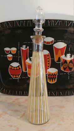 Mid Century Modern Yellow And White Stripe Glass Liquor Decanter | Danish  1960 Liquor Bottle |