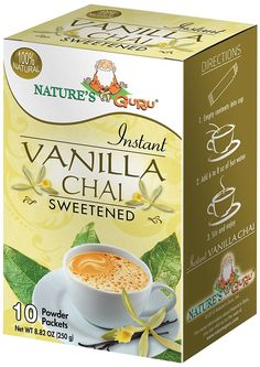 Nature's Guru Instant Vanilla Chai, Sweetened, 10 Count