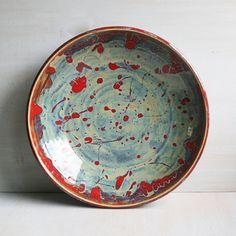 Ceramic Bowl Center Piece Multi Colored Shallow Bowl Serving Platter Stoneware Pottery Dinnerware Rustic Art Pottery