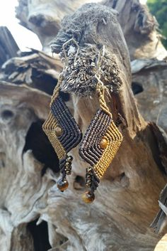 Macrame Earrings with Tiger's Eye Beads
