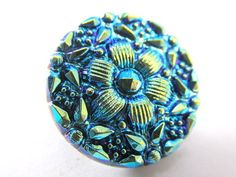Turquoise and Green Czech Glass 22mm Button
