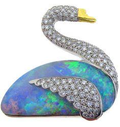 Opal and Diamond Swan Brooch
