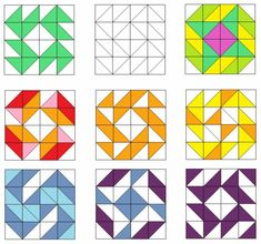 The possibilities are almost endless if you chose triangles as the basis of your pattern. Lots of ideas here for patchwork quilts. Sampler Quilts, Star Quilts, Mini Quilts, Quilting Tutorials, Quilting Projects, Quilting Designs, Half Square Triangle Quilts, Square Quilt, Patch Quilt