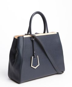 Fendi : navy leather '2Jours' convertible tote : style # 331053301
