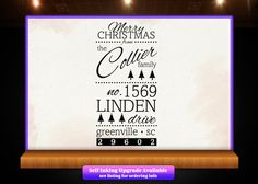 Merry Christmas Large Return Address Rubber Stamp by Designologist