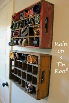 Love this idea for my craft room....rolled up small pieces of rug hooking wool.