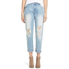 Junior OnTwelfth'Stevie' DistressedBoyfriendJeans ($58) ❤ liked on Polyvore featuring jeans, huntington beach light wash, ripped blue jeans, relaxed fit jeans, destroyed boyfriend jeans, ripped jeans and light wash jeans