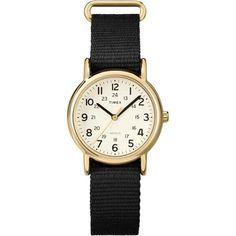 Timex Weekender Mid-Size Watch, Black Slip-Thru Nylon Strap