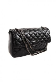 Black handbag, made of pu leather, with distinctive texture and chain. Comes with protective dust bag. Black Handbags, Pu Leather, Dust Bag, Fall Winter, Chanel, Shoulder Bag, Collection, Black Purses