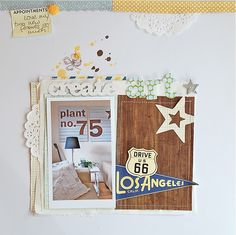 Gorgeous neutrals and woodgrain scrapbook layout with a little doily and stars ^_^