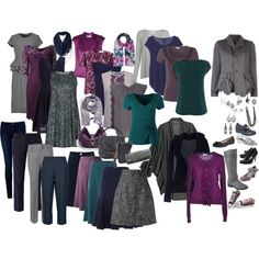My ideal capsule....inspiration for the pieces and colors I would like.  Navy, grey, purple and teal.  I think if I had this wardrobe I would have something to wear for every occasion.