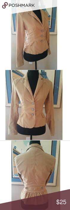 Authentic Guess Jeans Blazer Fitted blazer with a Peplum style in the back with two front pockets. No flaws or stains.  Fabric is 97% Cotton and 3% Spandex Guess Jeans Jackets & Coats Blazers