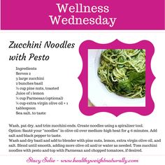 #WellnessWednesday Recipe This is one of my daughter's and I fav's. Skip the pasta and use Zucchini instead. Oh and if you don't have time or care to take the time, buy a prepaid organic fresh Pesto sauce. YUM!!!