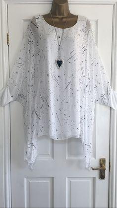 New italian lagenlook plus size white silk tunic dress top fit 16 18 20 22  c388 718b2c289a8c