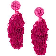 Sachin & Babi Dupio earrings ($250) ❤ liked on Polyvore featuring jewelry, earrings, earring jewelry, tassle earrings, tassel jewelry, fringe tassel earrings and fuschia earrings