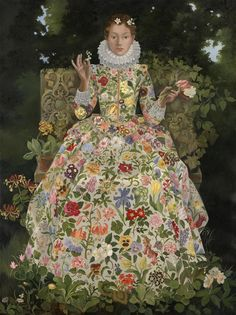Flora sits upon her garden stone settle, dressed in the most desirable garment imaginable - a veritable celebration of prized blooms and wild Lizzie Riches FLORA Silkscreen Print / Serigraph Illustrations, Illustration Art, Cicely Mary Barker, Magic Realism, Floral Artwork, English Artists, Silk Screen Printing, Belle Photo, Art Inspo