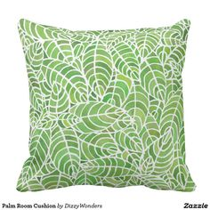 Palm Room Cushion - A hand painted watercolour design inspired by the Palm Room, Kibble Palace in Glasgow. The leaves are a fresh green - in tones of the 2017 Pantone of the Year -Greenery. Perfect for liven home interiors or garden rooms.