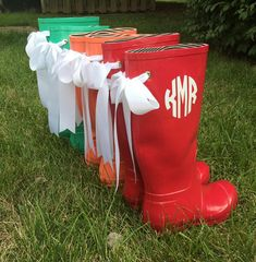 Monogrammed Rain Boots With Bows by magnolialayne on Etsy