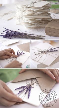 Lovely idea- sending a wedding invitation tied with string and sprigs of lavender. A nice surprise and sets the atmosphere of naturalistic whimsy.: