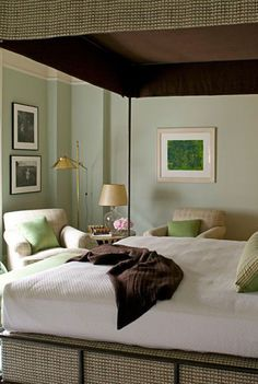 If you've already decided you want to spotlight green or you still need some convincing and inspiration, you're in the right place. We're showcasing designer green bedrooms that set the gold standard for decorating with this nature-inspired color. Keep reading to see how this versatile anchor color can transform just about any bedroom, no matter where it is—an estate, city apartment, or even a mountain chalet. Olive Green Bedrooms, Olive Bedroom, Green Bedroom Paint, Sage Green Bedroom, Gray Bedroom, Master Bedroom, Room Ideas Bedroom, Bedroom Wall, Bedroom Decor
