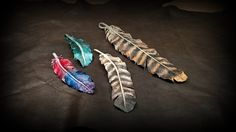 Leather feathers in different styles and coloring #leatherfeathers #b2zone #decorationfeathers